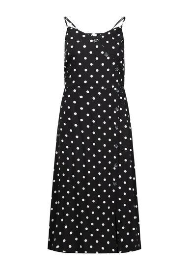 Women's Polka Dot Midi Dress, BLK/WHT, hi-res
