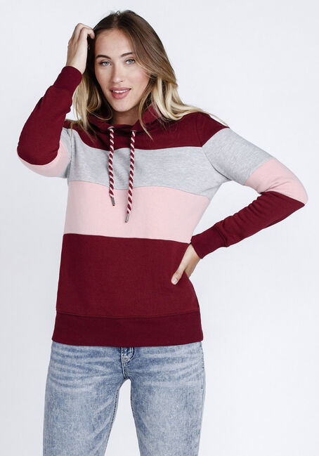 Women's Colour Block Popover Hoodie, CHILI, hi-res