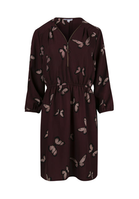Women's Butterfly Cold Shoulder Shirt Dress