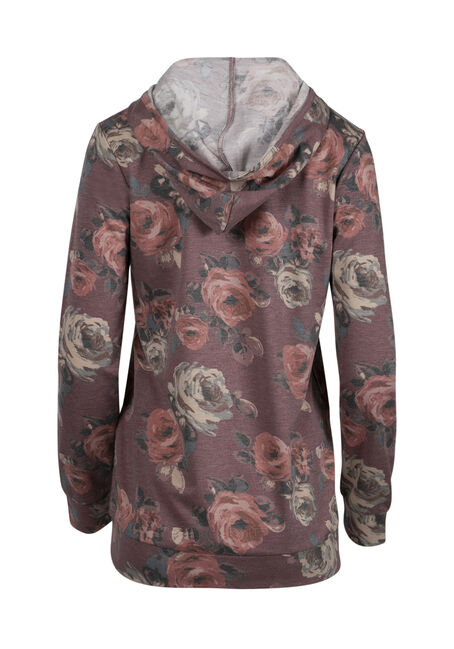 Women's Floral Hooded Tee, DK ROSE, hi-res