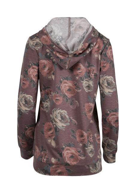 Women's Floral Hooded Tee, DK ROSE, hi-res