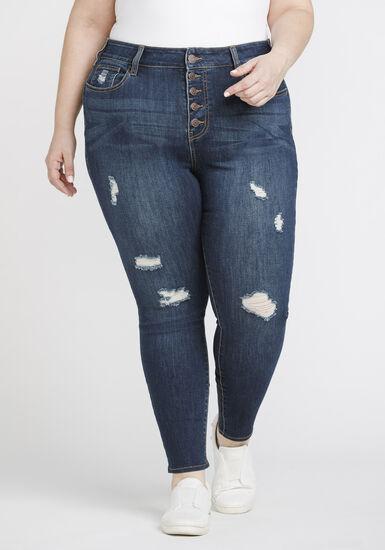 Women's Plus Size Distressed High Rise Skinny Jeans, DENIM, hi-res