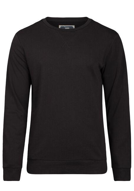 Men's Crew Neck Sweatshirt, BLACK, hi-res