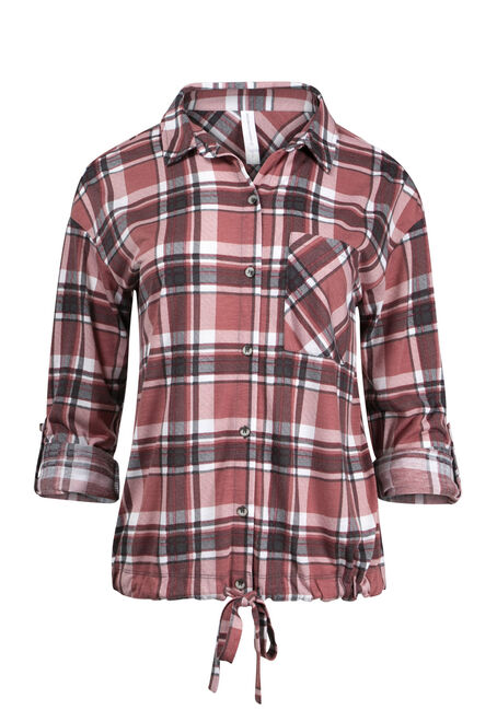 Women's Blush Plaid Shirt With Tie Hem
