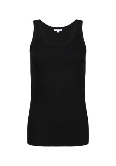 Women's Rib Knit Tank Top, BLACK, hi-res