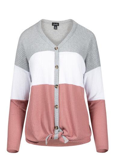 Women's Colour Block Tie Hem Shirt, DUSTY ROSE, hi-res