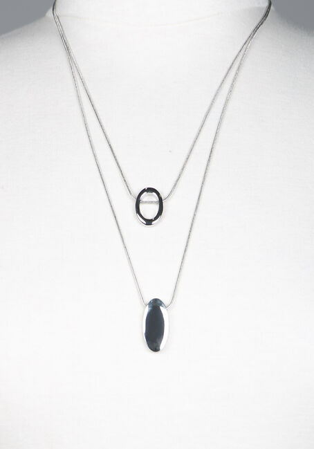 Oval Pendant Necklace, SILVER, hi-res