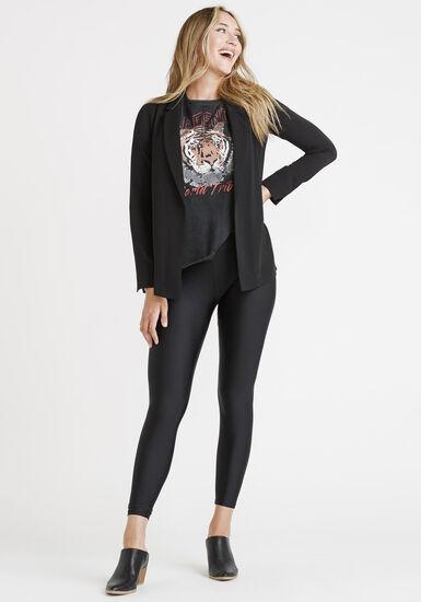 Women's Open Front Blazer, BLACK, hi-res