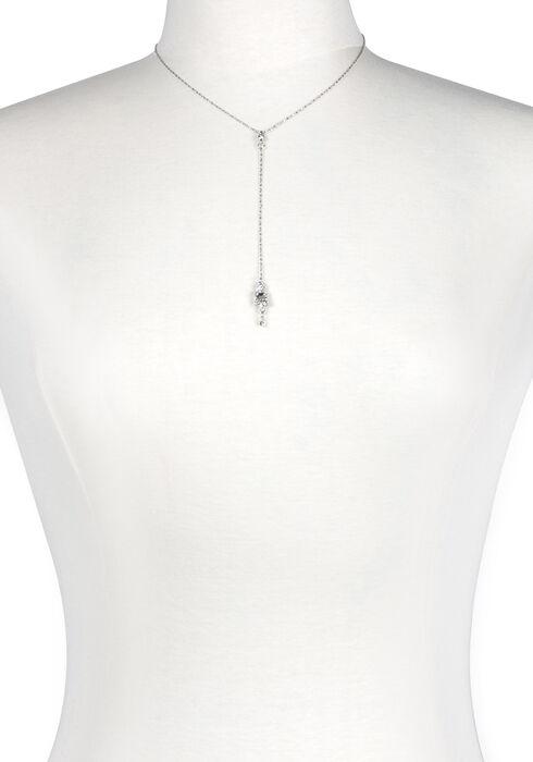 Women's Rhinestone Drop Necklace, SILVER, hi-res