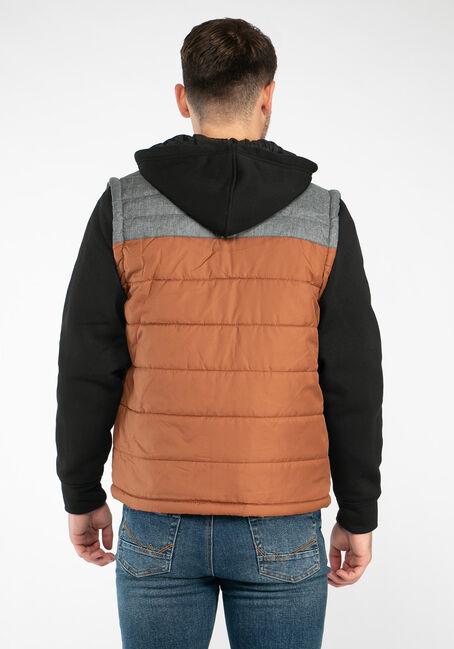 Men's Knit Sleeve Puffer Jacket, TAN/CHARCOAL, hi-res