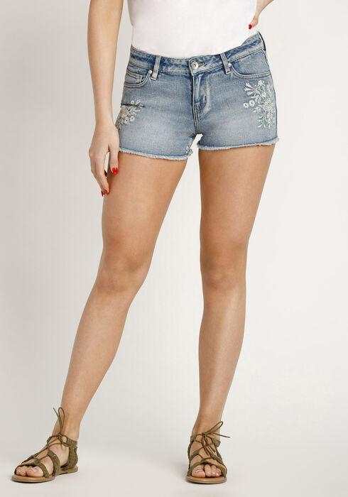 Women's Emboidered Short, MEDIUM WASH, hi-res