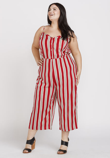 Women's Striped Tie Jumpsuit, RED, hi-res