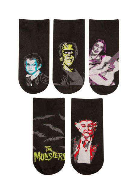 Men's 5 Pair Munsters Socks, BLACK, hi-res