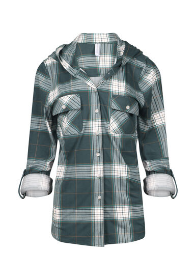 Women's Hooded Knit Plaid Shirt, FOREST GREEN, hi-res