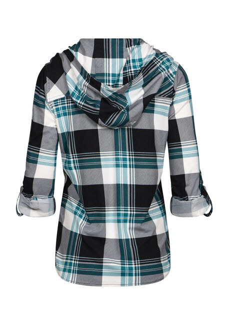 Women's Hooded Knit Plaid Shirt, TEAL, hi-res