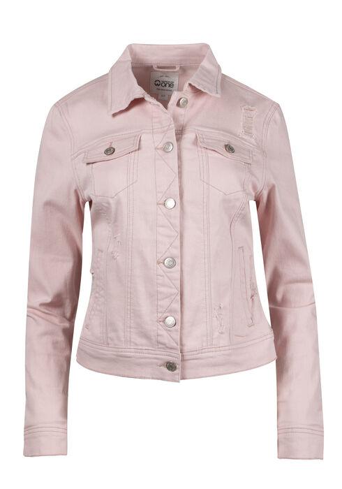 Women's Destroyed Pink Jean Jacket, PINK, hi-res