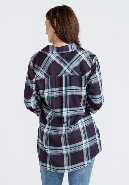 Women's Drapey Plaid Tunic Shirt, DARK PURPLE, hi-res