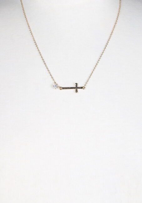 Ladies' Rhinestone Cross Necklace, GOLD, hi-res