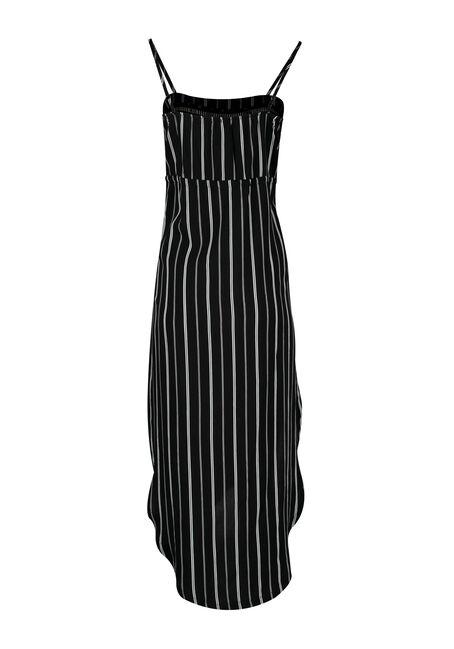Women's High-Low Midi Dress, BLK/WHT STRIPE, hi-res