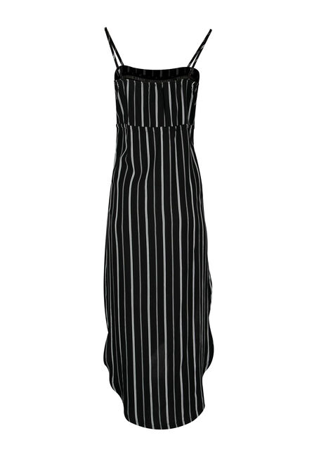 Women's High-Low Midi Dress, BLK/WHT STRIPE, hi-res