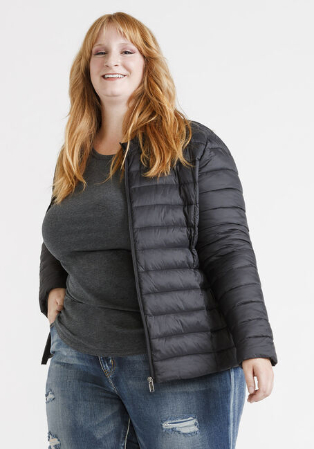 Women's Packable Puffer Jacket, BLACK, hi-res