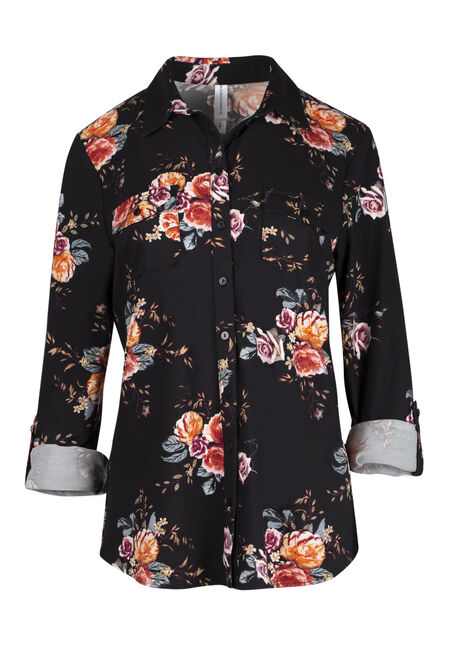 Women's Relaxed Fit Knit Floral Shirt