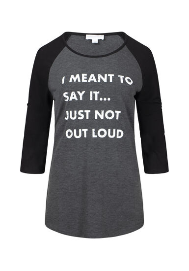 Women's I Meant To Say It Baseball Tee, BLACK, hi-res