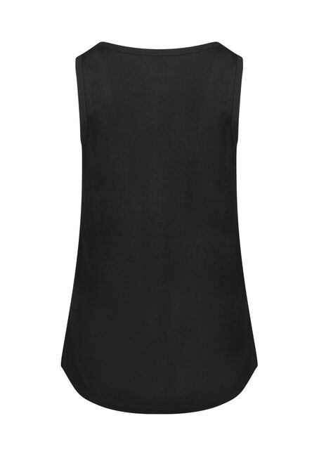 Women's Scoop Neck Loose Fit Tank, BLACK, hi-res
