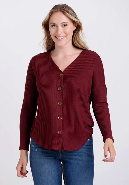 Women's Button Front Ribbed Top