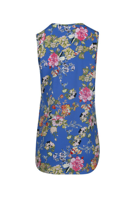 Women's Cage Neck Floral Tank, ISLAND BLUE, hi-res