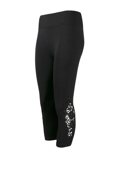 Women's Crochet Applique Capri Legging, BLACK, hi-res