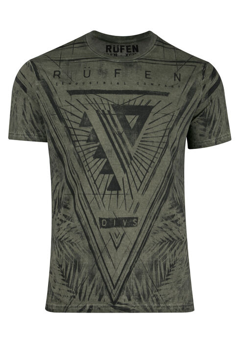 Men's Leaf Print Graphic Tee, DARK OLIVE, hi-res