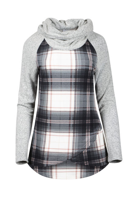 Women's Plaid Cowl Neck Top