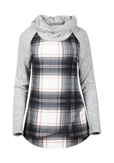 Women's Plaid Cowl Neck Top, BLACK, hi-res