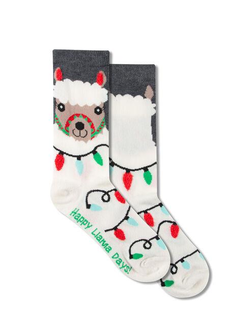 Women's Holiday Lama Crew Socks