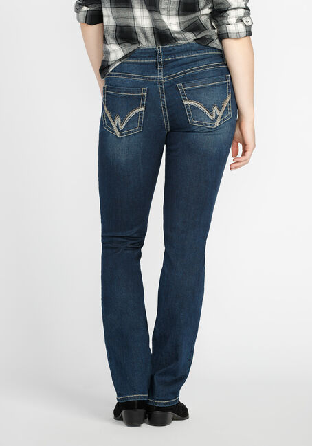 Ladies' Straight Leg Dark Wash Jeans, MEDIUM VINTAGE WASH, hi-res