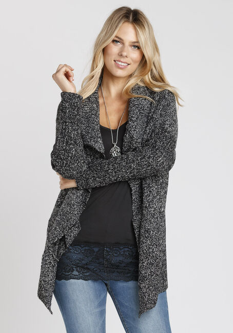 Ladies' Cross Over Cardigan, BLK/WHT, hi-res