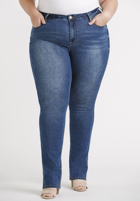 Women's Plus Med Wash Straight Leg Jeans