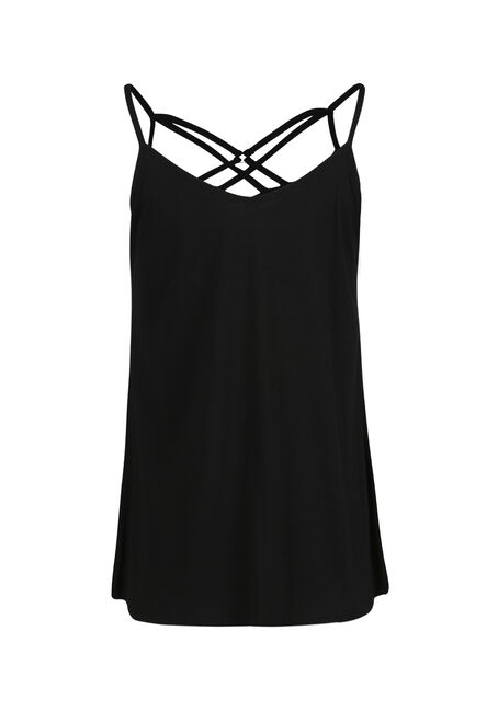 Ladies' Cage Neck Tank, BLACK, hi-res