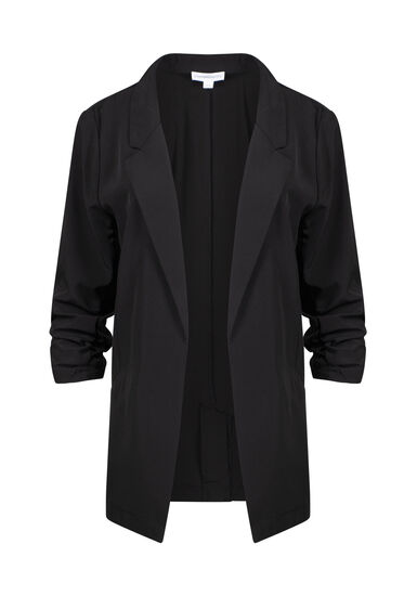 Women's Ruched Sleeve Blazer, BLACK, hi-res