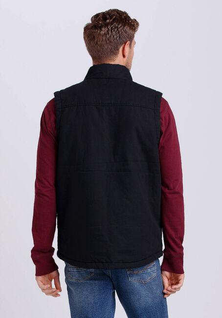 Men's Canvas Vest, BLACK, hi-res