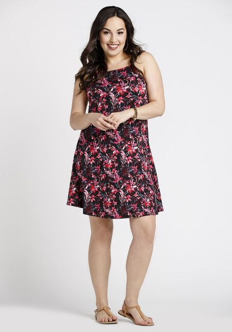 Women's Floral High Neck Dress, BURGUNDY, hi-res