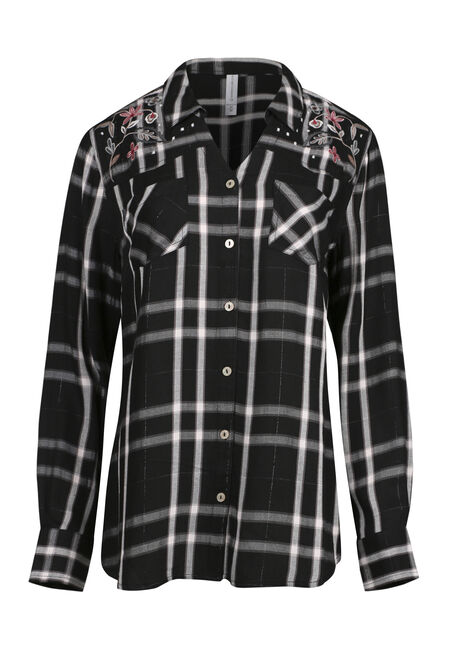Ladies' Embroidered Plaid Shirt