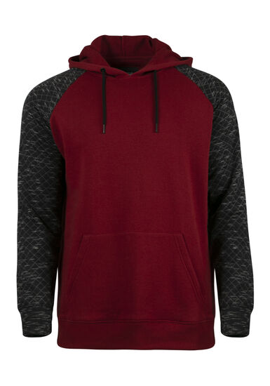 Men's Quilted Raglan Hoodie, CRIMSON, hi-res