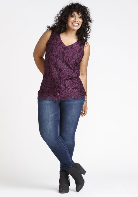 Women's Lace Overlay Tank, PURPLE, hi-res