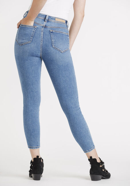 Women's High Rise Button Fly Mom Skinny, MEDIUM WASH, hi-res