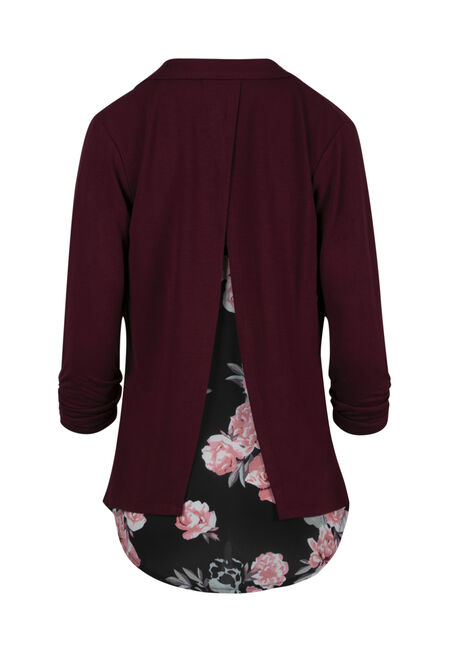 Ladies' Chiffon Back Blazer, SD WINE, hi-res