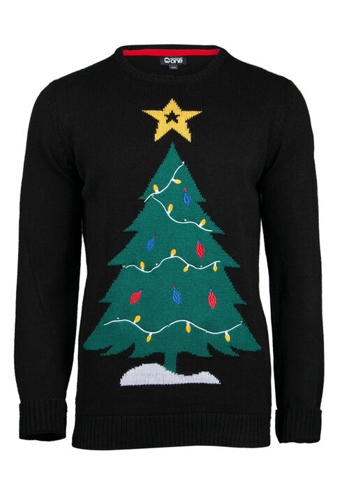 Men's Christmas Tree Light Up Sweater, BLACK, hi-res