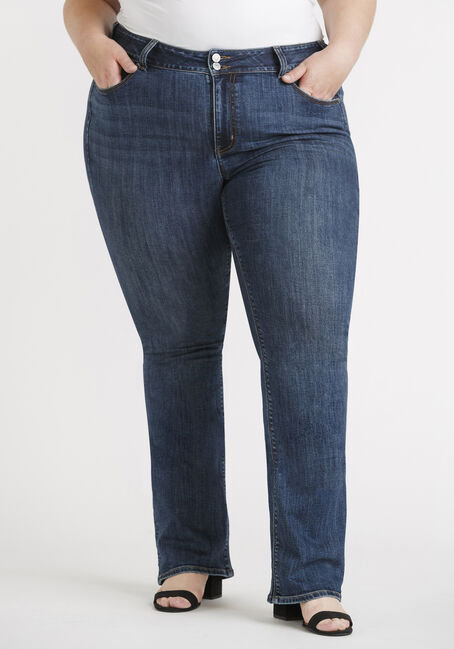 Women's Plus Size 2 Button Dark Wash Baby Boot Jeans