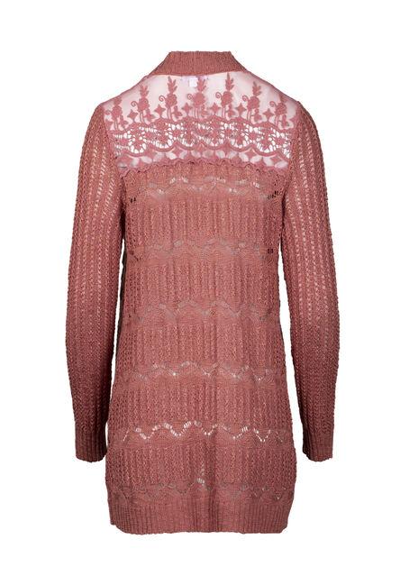 Women's Lace Insert Pointelle Cardigan, PAPRIKA, hi-res